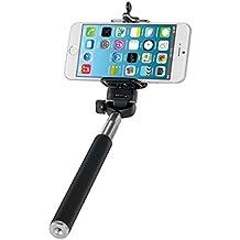 kwmobile| Selfie stick universal con soporte para Smartphone | Adaptable a diferentes modelos Smartphone | Negro