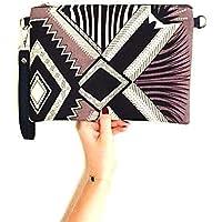 Sac wax Pochette wax clutch tissu africain géométrique gris, noir et blanc- tissu éthnique africain ethno chic