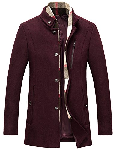 Insun Herren Mantel Gr. 40, burgunderfarben (Wool-blend Classic Blazer)