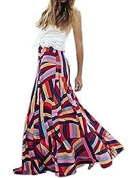 97961e55a21f2 KOLY Gonna Geometrica Bohemian Gonna con Cerniera Ampia Allacciatura con  Cerniera Vestito Formale Lungo Chiffon Prom