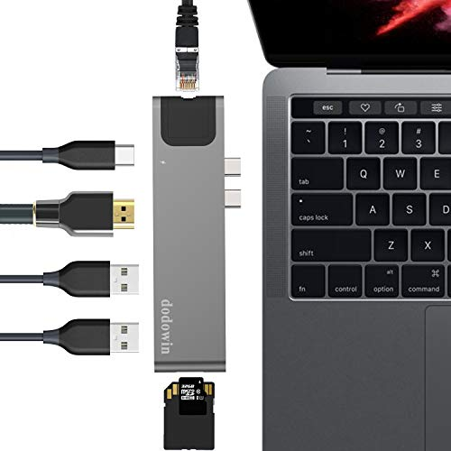 USB C HUB Kompatibel für MacBook Pro 2019 2018 2017 MacBook Air 2019 2018, MacBook Pro Adapter Zubehör mit 40Gbs Thunderbolt 3, 1* Gigabit Ethernet, 1 HDMI, 2 USB 3.1, SD/Micro SD Kartenleser (Grau)