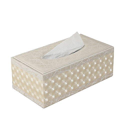 Kingfom rectangular piel sintética caja de pañuelos de papel Servilletero para la oficina en casa, decoración de coche Automotive (Beige)