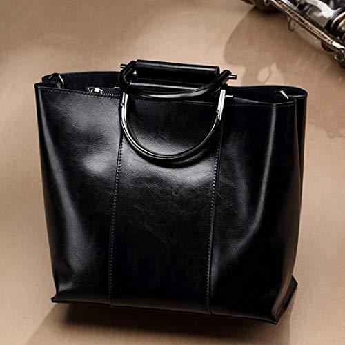 Kamiwwso Echtes Leder Satchel Geldbörsen und große Kapazität Handtaschen für Frauen Schulter Tote Bags (Color : Black)