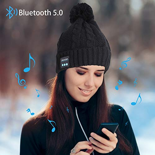 Miserwe Bluetooth Beanie Mütze Kabellose 5.0 Bluetooth Mütze mit Freisprech Kopfhörer Mikrofon Lautsprecher Kopfhörer Mütze Männer Frauen Geschenke Winter Outdoor Sport für iPhone Android,Schwarz