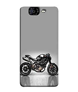 Fuson Designer Back Case Cover for Micromax Canvas Knight A350 :: Micromax A350 Canvas Knight (Motorbike Wheels Two Wheelers )