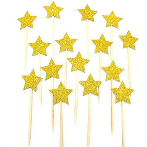 Sterne Cupcake Topper Mädchen ersten Geburtstag Party Twinkle Twinkle Little Star Pink und Gold Party Supplies Boy 1. Geburtstag - Gold Mini ()