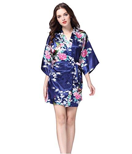 DSJJ Frauen Satin Kimono Robe Lace Dressing Gown Silk Kurzarm Damen Bademantel Nachtwäsche (Günstige Frauen Für Silk-roben)