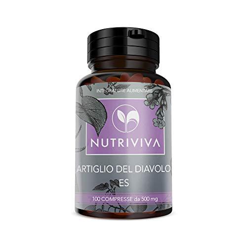 NUTRIVIVA Artiglio del diavolo 100 compresse da 500 mg   Per il benessere e la salute di sportivi ed anziani