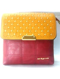 Enigma Red And Yellow Sling Fashion Women Bag PU Leather Crossbody High Quality For Gift