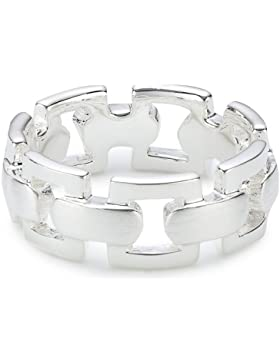 Vinani Jewelry Damen-Ring Kettenmuster Sterling Silber 925 RKG