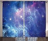 ABAKUHAUS Nebel Rustikaler Gardine, Sternhaufen im Weltraum, Schlafzimmer Kräuselband Vorhang mit Schlaufen und Haken, 280 x 175 cm, Lila