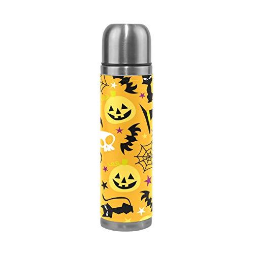 Thermosflasche für Kinder, Halloween, Kürbis und Katze, Totenkopf, doppelwandig, Edelstahl, Vakuumbecher, isoliert, Kaffee, Reisetasse, 17 oz