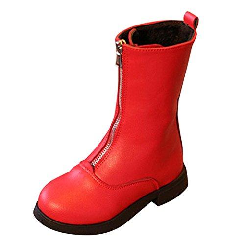TPulling Mode Junge Und Mädchen Martin Stiefel Herbst Und Winter Retro-Reißverschluss Vorne Martin Stiefel Lässige Schuhe (Rot, 27) (Reißverschluss Vorne Kinder Stiefel)