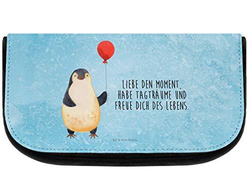 Mr. & Mrs. Panda Mäppchen, Kulturbeutel, Kosmetiktasche Pinguin Luftballon mit Spruch - Farbe Eisblau