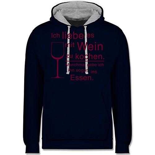 Shirtracer Küche - Ich Liebe es mit Wein zu Kochen - 3XL - Navy Blau/Grau meliert - JH003 -...
