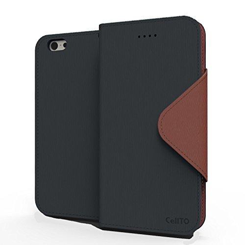 IPhone 7 Plus Case, Cellto PU Housse portefeuille en cuir Support et rabat magnétique réversible [Garantie à vie] Flip Cover pour Apple iPhone 7 Plus - noir / brun Wallet - Black / Brown