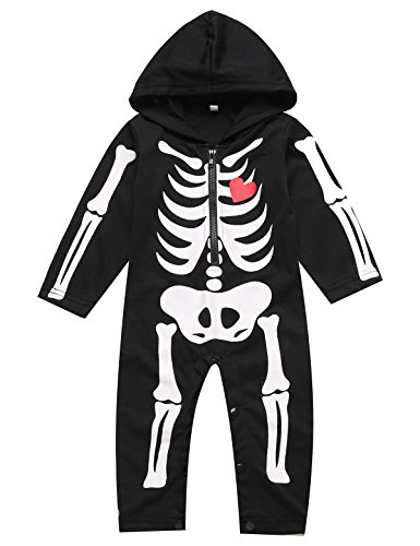 Baby Jungen Halloween Schädel Kostüm Zipper Overall Outfits Kleidung Hoodie (12-18 (Halloween Baby Outfits)