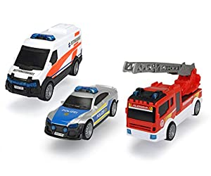 Dickie Toys 203712015 SOS Theme 203712015-SOS Team - Juego de Cartas de Rescate (versión Alemana, 3 Unidades), diseño de policía y camión de Bomberos