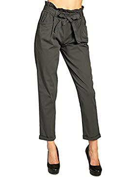 CASPAR KHS048 Pantalones Modernos de Estilo Paperbag para Mujer/Pantálon de Verano de Algodón