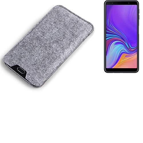 K-S-Trade Compatibile con Samsung Galaxy A7 (2018) Custodia Feltro per Cellulare Custodia Morbida Protettiva Sacchetto Protezione Manica Astuccio Copertina Grigio per Smartphone Samsung Galaxy A7