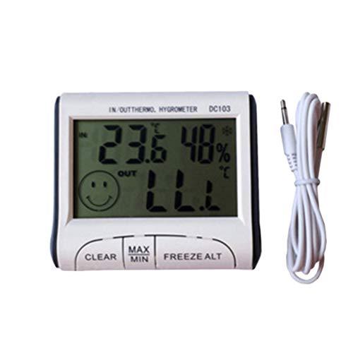 VORCOOL DC103 Mini Digital Indoor Schreibtisch Hygrometer Thermometer Temperatur-Und Feuchtigkeitsmessgerät LCD Display Wecker Timer mit Sonde