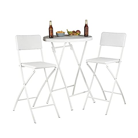 Relaxdays BASTIAN Folding Bar Stools, Rattan Look, Backrest, Bistro Chairs,