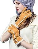 YISEVEN Damen Shearling Lederhandschuhe mit Warm Gefüttert Winter Lammfell Leder Autofahrer Handschuhe, Kamel M
