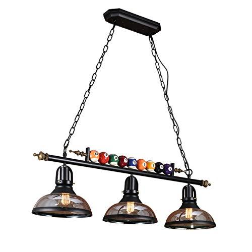 WJS Billardtischlampe, 3-Licht-Billard-Pendelleuchte mit Billardkugel und klarem Glasschirm for die Bierparty im Spielzimmer