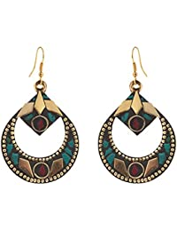 Ornamenta Earrings Tibetan Dangle & Drop Hook Inlay Work For Women and Girls