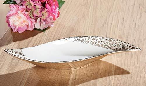 Dreamlight Moderne Dekoschale Obstschale Schale aus Keramik Champagner/Weiß Länge 40 cm Breite 14 cm
