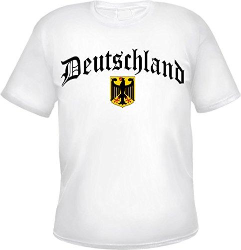 Deutschland T-Shirt Altdeutsch mit Wappen L Weiß