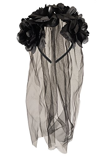 Adult Halloween Zombie Bride Black Veil With Flowers Fancy Dress (Halloween Braut)