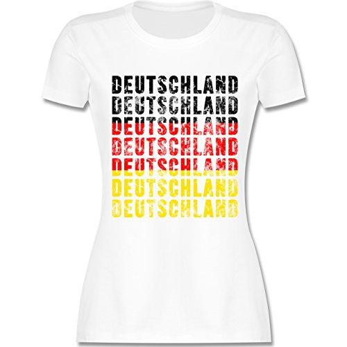 Shirtracer Fußball-WM 2018 - Russland - Deutschland Grunge Typo - Damen T-Shirt Rundhals Weiß