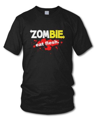shirtloge - ZOMBIE - EAT FLESH. - KULT - Fun T-Shirt - in verschiedenen Farben - Größe S - XXL Schwarz