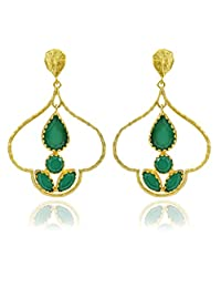 The Bohemian E2609-424 Ribbed Dome Alloy Gold Plated Dangle & Drop Earring For Women