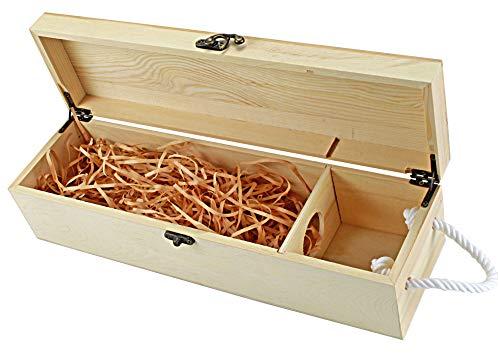UTI GmbH Weinkiste RUSTIKAL mit Tragekordel und Deko-Wolle - für 1 Flasche Wein - Flaschenkiste - Weinbox - Holzkiste - Geschenkbox