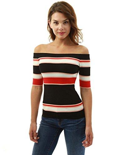 PattyBoutik Damen Farbe Block aus Schulter Strick top (schwarz, weiß und rot 36/S)