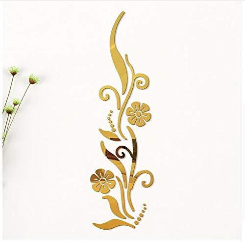 Kreative Diy Blume Poster Dekorative Rambling Vine Acryl Spiegel Wandaufkleber Hauptwanddekor 3D Raumdekoration Aufkleber, gelb, Ayzr Rambling Vine