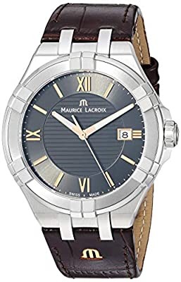 Maurice Lacroix Men's Analog Swiss-Quartz Watch with Leather Strap AI1008-SS001-333-1