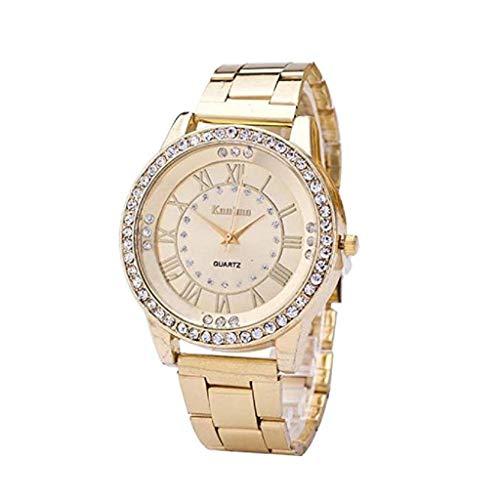 Fashion Armbanduhr, KEATTL Analoge Uhr-Leder-Edelstahl-Art- und Weisearmbanduhr-Uhr der heißen Mens (golden)