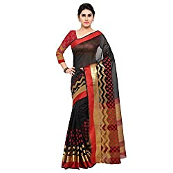 Bhuwal Fashion Womens Cotton Silk Saree With Blouse Piece (ABCBF105000_Black_Free Size)
