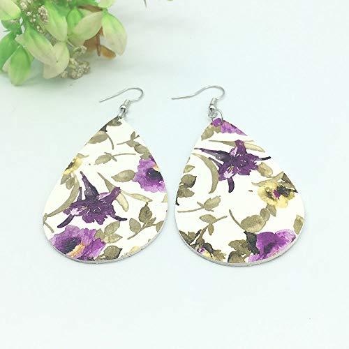 LZMSDX Böhmische Einfache Anhänger Ohrringe Mode Leder Blume Ohrringe für Frauen Mädchen Geschenke Kleidung Zubehör A217-A225 Weiß lila