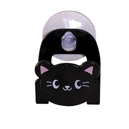 CC*CD Katzen-Schüssel mit Saugnapf Handtuch- und Schwammhalter, Spüle, Becher, Abtropfgestell (Edelstahl Saug-schüssel)