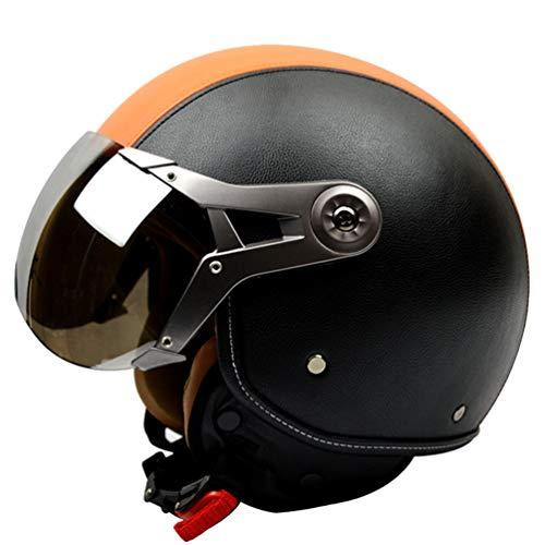 Erwachsenen Leder Retro Harley Motorradhelm Leichter weicher Komfort Atmungsaktiver elektrischer Motorradhelm Unisex Anti Fog UV-Schutz Stoßfest Harley Helm Open Face Schutzkappen - Retro Daytona Leder