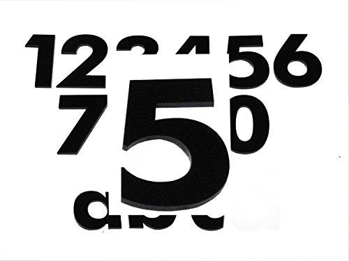 Hausnummer 5 SCHWARZ - HÖHE: 65mm, 3mm dick (KEINE dünne Folie), witterungsbeständig, schönes Design und sehr einfache Montage (kleben statt bohren) HAUSNUMMERN, NUMMER, ZAHL für Haustür, Tür, Briefkasten u. Sprechanlage aus PLEXIGLAS -