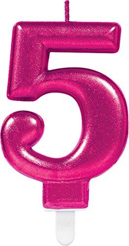 Carpeta Zahlenkerze * Zahl 5 * in PINK mit Steckfuß | ca. 10cm x 6cm groß | Deko 5. Geburtstag Geburtstagskerze Kerze