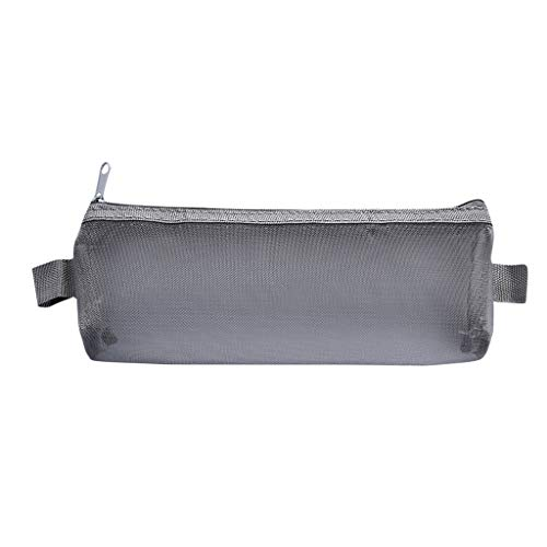 Mäppchen,Bleistiftpaket,Student Koreanische Version der Teststift Tasche Mesh Schreibwaren Tasche Einfache Mesh Reißverschluss Datei Tasche Münze Tasche Schwarz Weiß Grau (Gray, L)