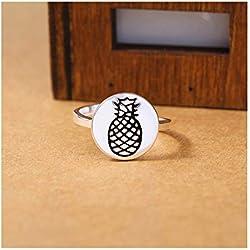 Dwcly - Anillo de Metal esmaltado Hecho a Mano con diseño de pequeño Disco de oblea de piña para Frutas, tamaño Ajustable, Chapado en Plata