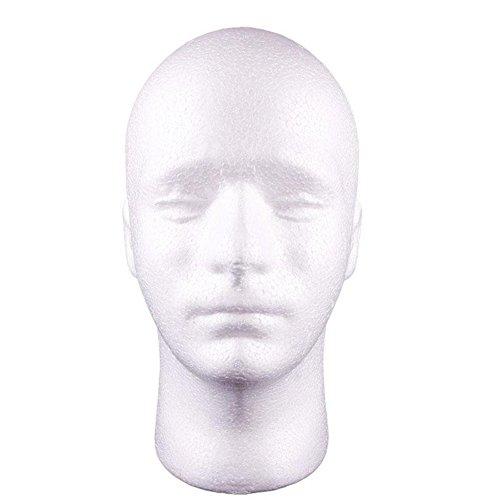 Gemini_mall Testa di manichino maschio polistirolo da esposizione per parrucche cappelli colore bianco