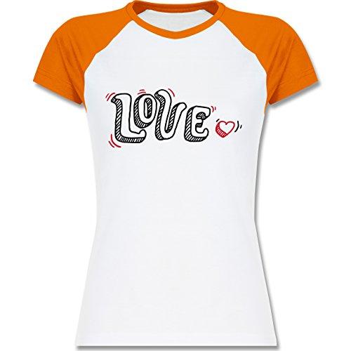 Valentinstag - Love Schrift mit Herz - zweifarbiges Baseballshirt / Raglan T-Shirt für Damen Weiß/Orange